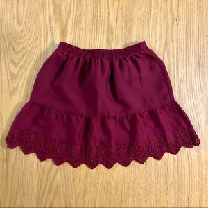Madewell Dark Red Skirt with Embroidered Hem